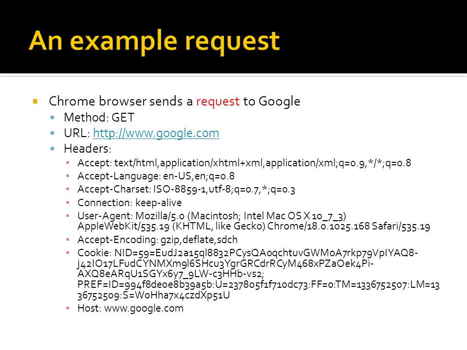 Chrome browser sends a request to Google Method: GET URL: http://www.google.comhttp://www.google.com Headers: Accept: text/html,application/xhtml+xml,