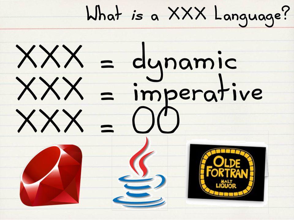 What is a XXX Language? XXX = dynamic XXX = imperative XXX = OO