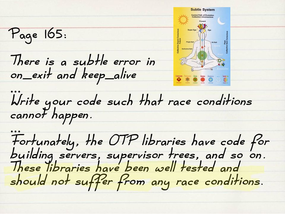 Page 165: There is a subtle error in on_exit and keep_alive … Write your code such that race conditions cannot happen. … Fortunately, the OTP librarie