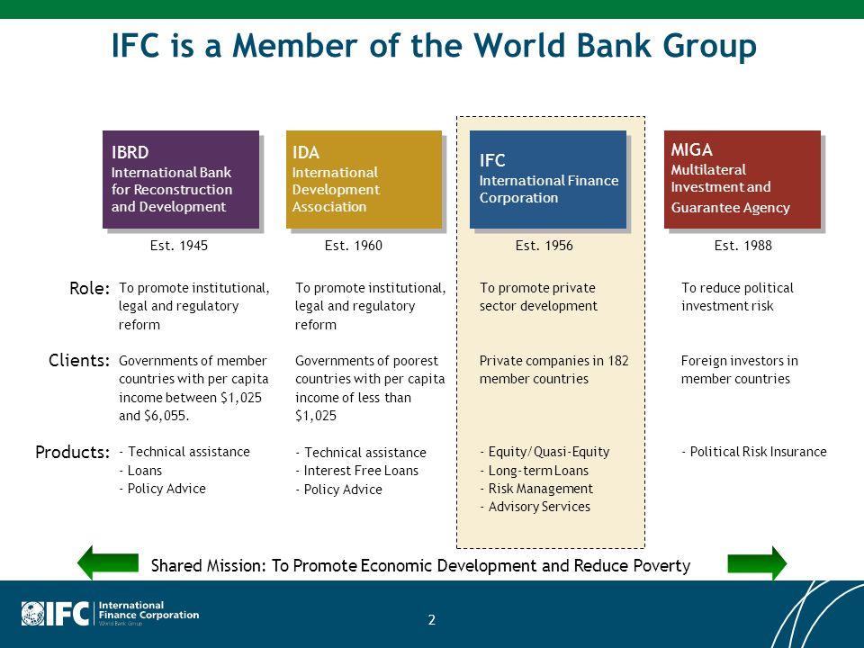 IBRD International Bank for Reconstruction and Development IDA International Development Association IFC International Finance Corporation MIGA Multil