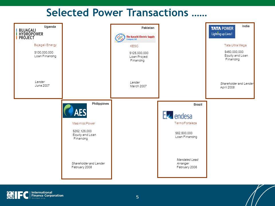 Selected Power Transactions …… $130,000,000 Loan Financing Uganda Lender June 2007 Bujagali Energy $125,000,000 Loan Project Financing Pakistan Lender