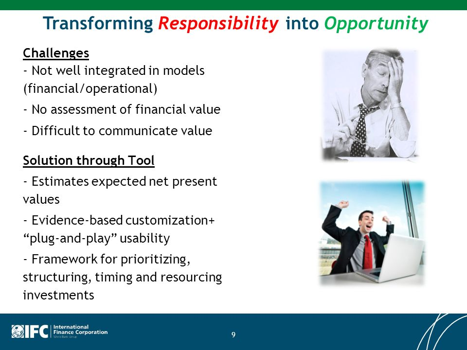 Transforming Responsibility into Opportunity Challenges - Not well integrated in models (financial/operational) - No assessment of financial value - D