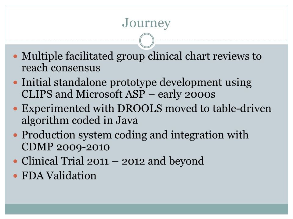 Journey Multiple facilitated group clinical chart reviews to reach consensus Initial standalone prototype development using CLIPS and Microsoft ASP –