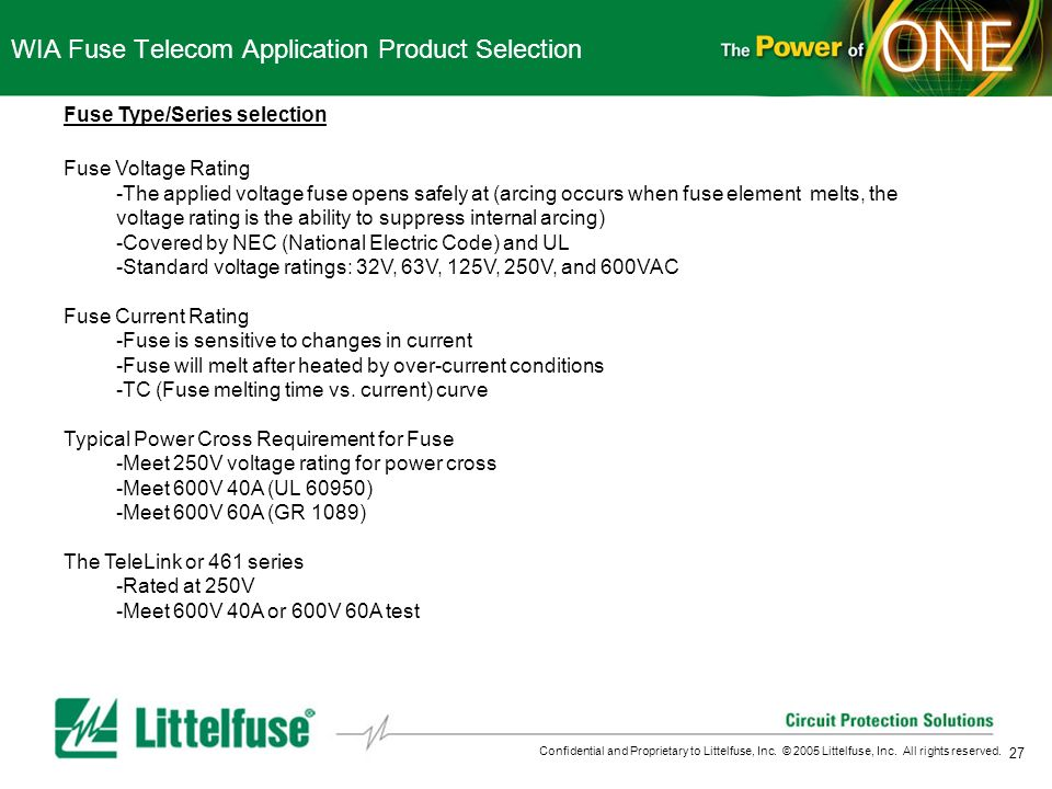 27 Confidential and Proprietary to Littelfuse, Inc. © 2005 Littelfuse, Inc. All rights reserved. WIA Fuse Telecom Application Product Selection Fuse T