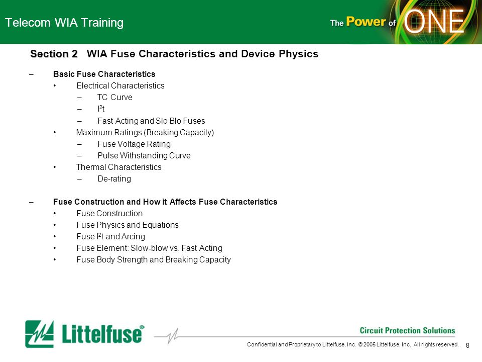 8 Confidential and Proprietary to Littelfuse, Inc. © 2005 Littelfuse, Inc. All rights reserved. Telecom WIA Training Section 2 Section 2 WIA Fuse Char
