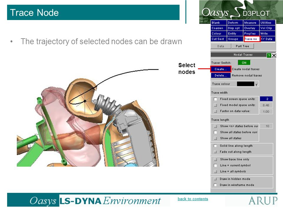 back to contents Trace Node The trajectory of selected nodes can be drawn Select nodes
