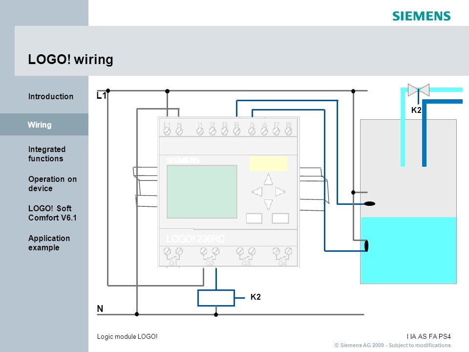 © Siemens AG 2009 - Subject to modifications I IA AS FA PS4Logic module LOGO! Introduction Wiring Integrated functions Operation on device LOGO! Soft