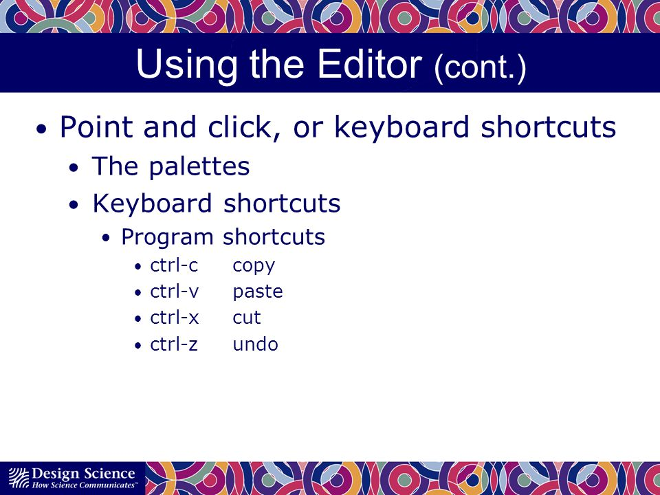 Using the Editor (cont.) Point and click, or keyboard shortcuts The palettes Keyboard shortcuts Program shortcuts ctrl-ccopy ctrl-vpaste ctrl-xcut ctrl-zundo