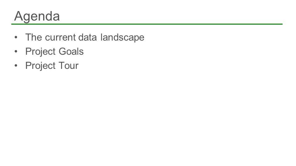 The current data landscape Project Goals Project Tour Agenda 2