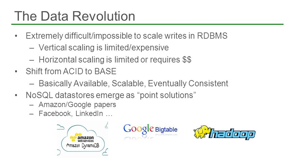 Extremely difficult/impossible to scale writes in RDBMS –Vertical scaling is limited/expensive –Horizontal scaling is limited or requires $$ Shift fro