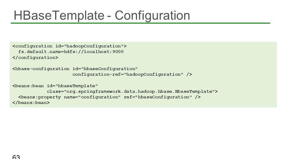 HBaseTemplate - Configuration 63 fs.default.name=hdfs://localhost:9000 <hbase-configuration id=