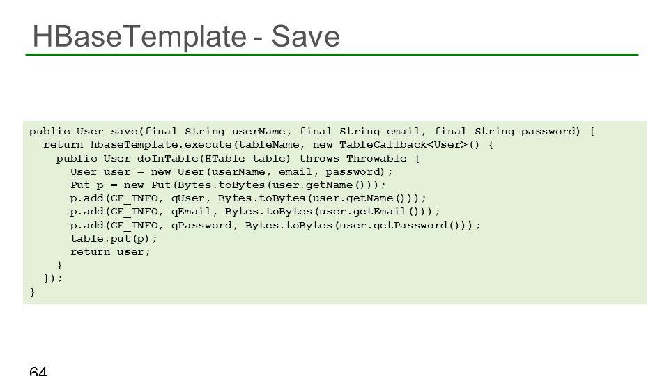 HBaseTemplate - Save 64 public User save(final String userName, final String email, final String password) { return hbaseTemplate.execute(tableName, n