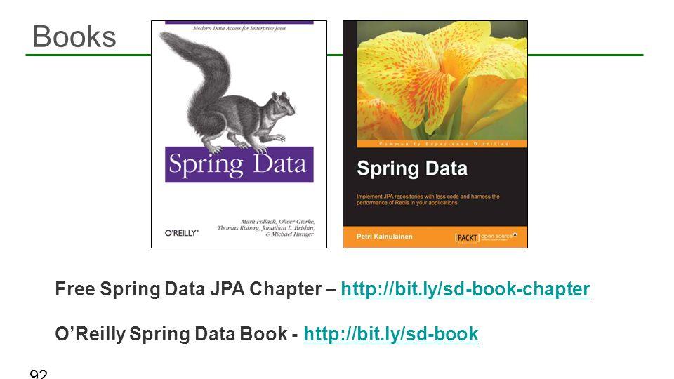 Books 92 Free Spring Data JPA Chapter – http://bit.ly/sd-book-chapterhttp://bit.ly/sd-book-chapter OReilly Spring Data Book - http://bit.ly/sd-bookhtt
