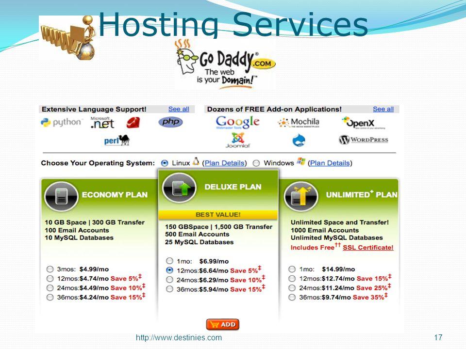 Hosting Services http://www.destinies.com17
