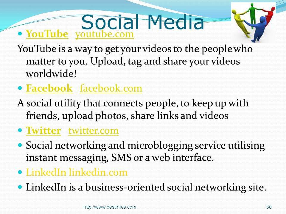 Social Media YouTube youtube.com YouTubeyoutube.com YouTube is a way to get your videos to the people who matter to you.