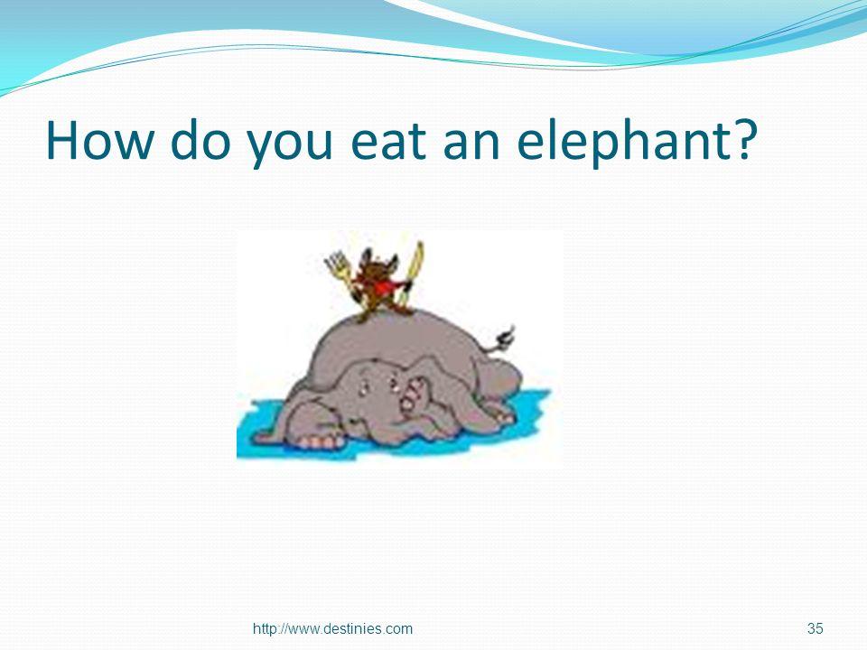 How do you eat an elephant? http://www.destinies.com35