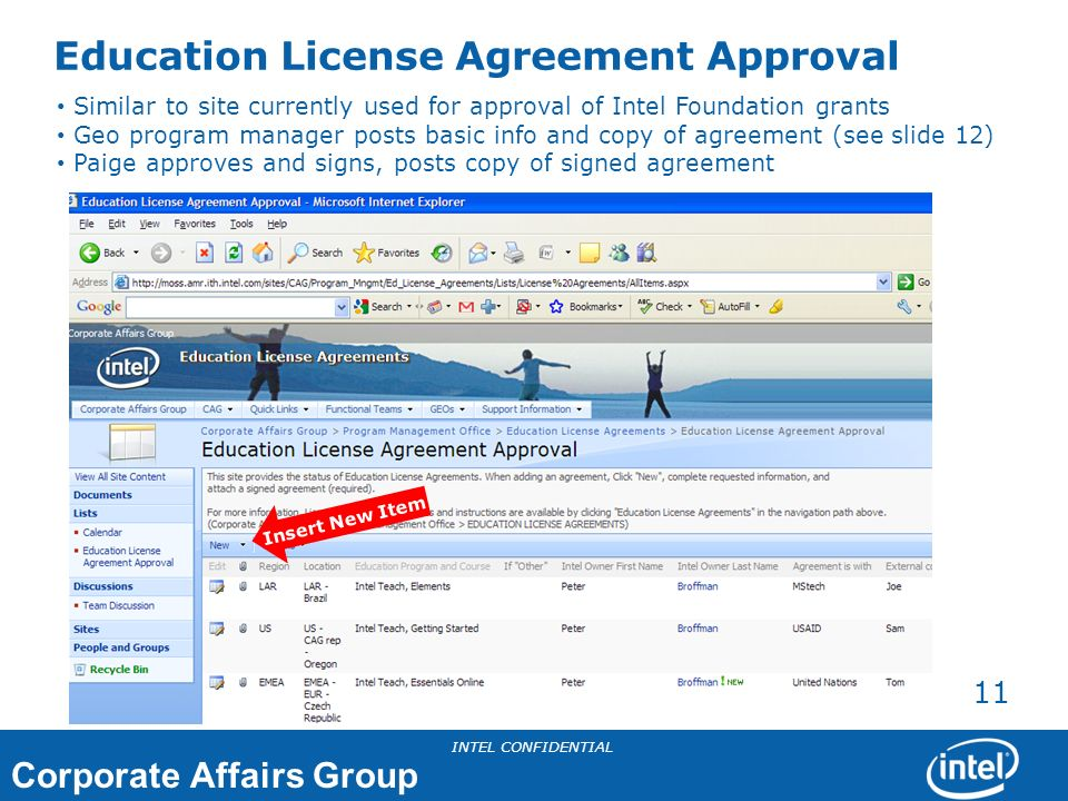 Corporate Affairs Group INTEL CONFIDENTIAL 11 Education License Agreement Approval Similar to site currently used for approval of Intel Foundation gra