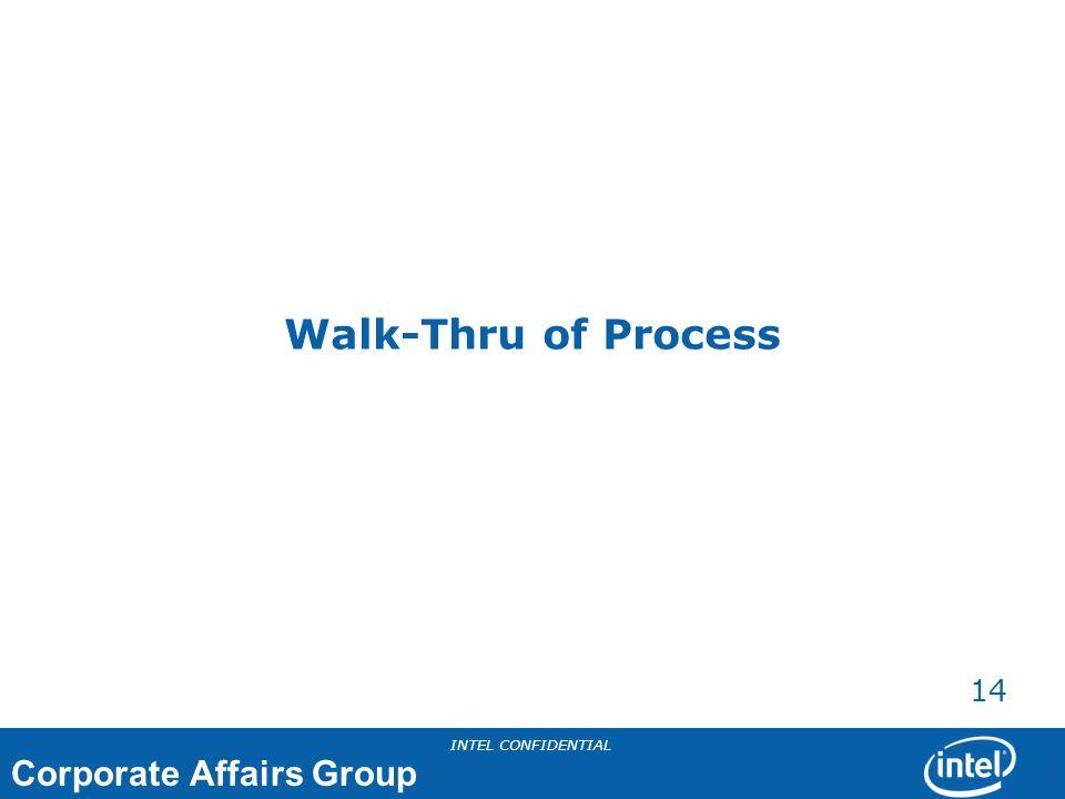 Corporate Affairs Group INTEL CONFIDENTIAL 14 Walk-Thru of Process