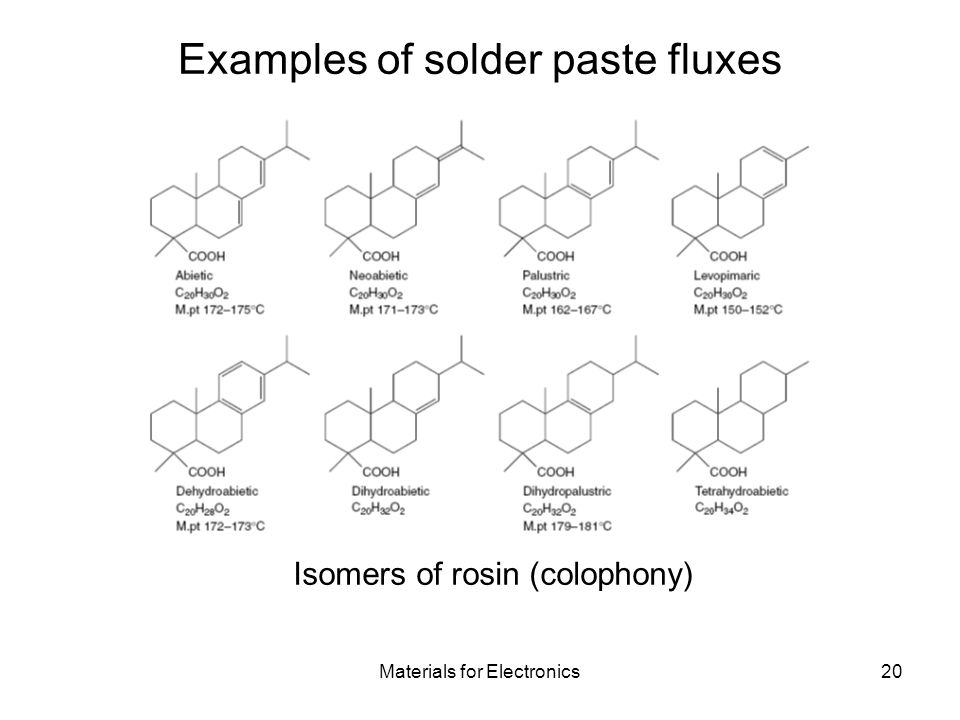 Materials for Electronics20 Examples of solder paste fluxes Isomers of rosin (colophony)