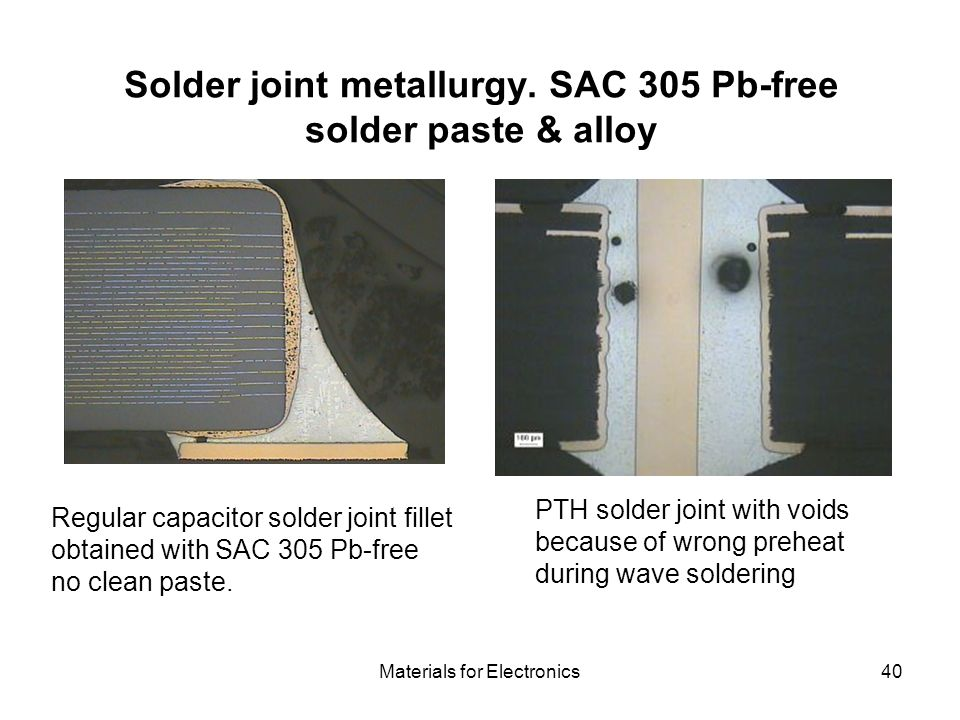 Materials for Electronics40 Solder joint metallurgy. SAC 305 Pb-free solder paste & alloy Regular capacitor solder joint fillet obtained with SAC 305
