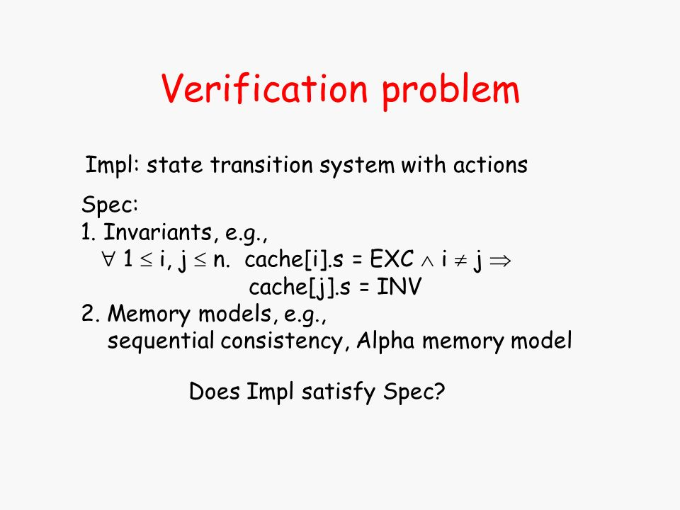 Verification problem Impl: state transition system with actions Spec: 1. Invariants, e.g., 1 i, j n. cache[i].s = EXC i j cache[j].s = INV 2. Memory m