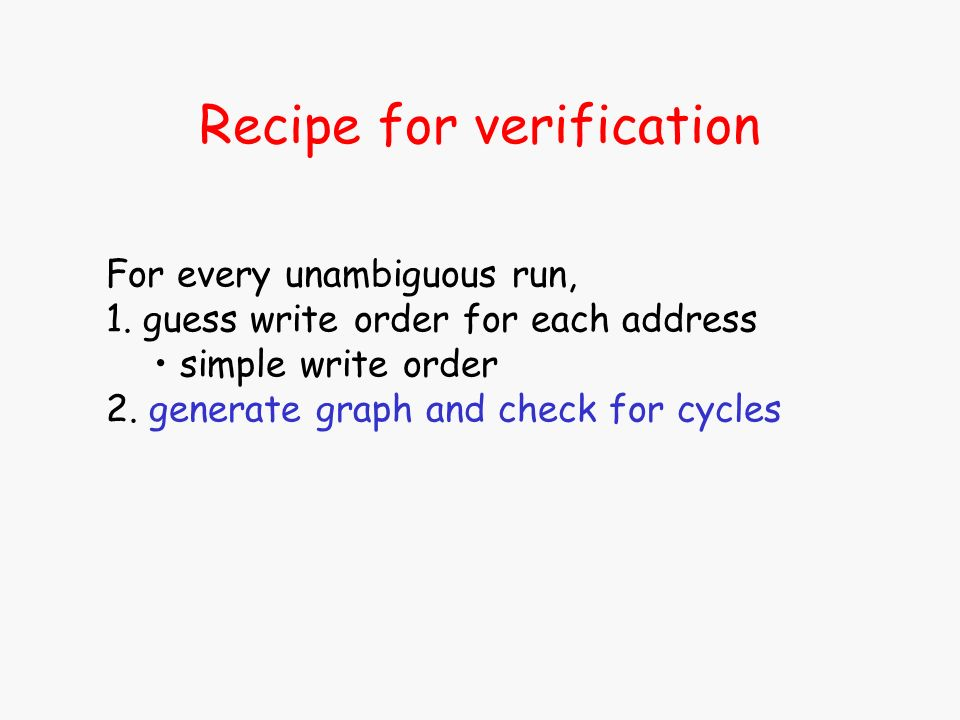 Recipe for verification For every unambiguous run, 1. guess write order for each address simple write order 2. generate graph and check for cycles