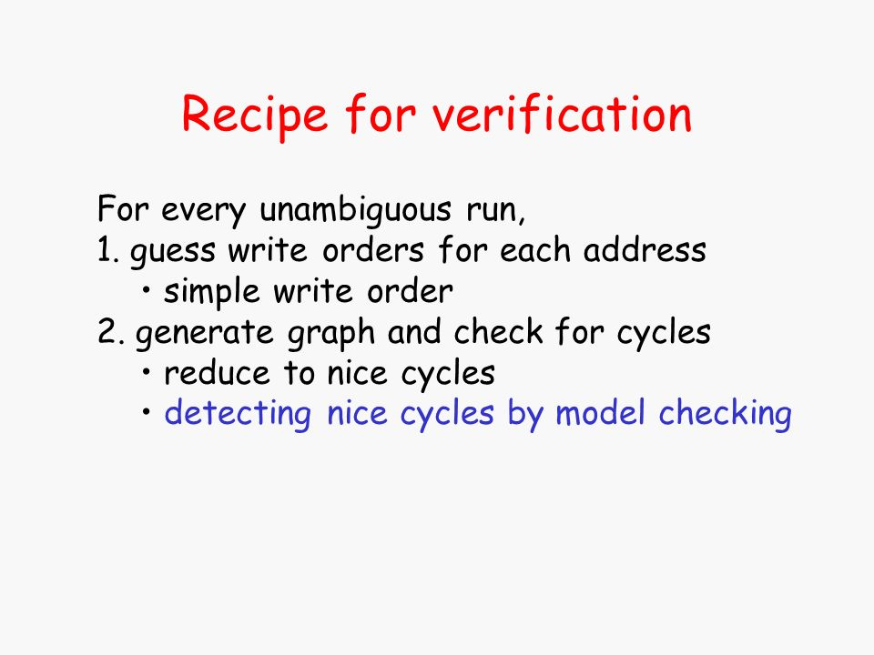 Recipe for verification For every unambiguous run, 1. guess write orders for each address simple write order 2. generate graph and check for cycles re