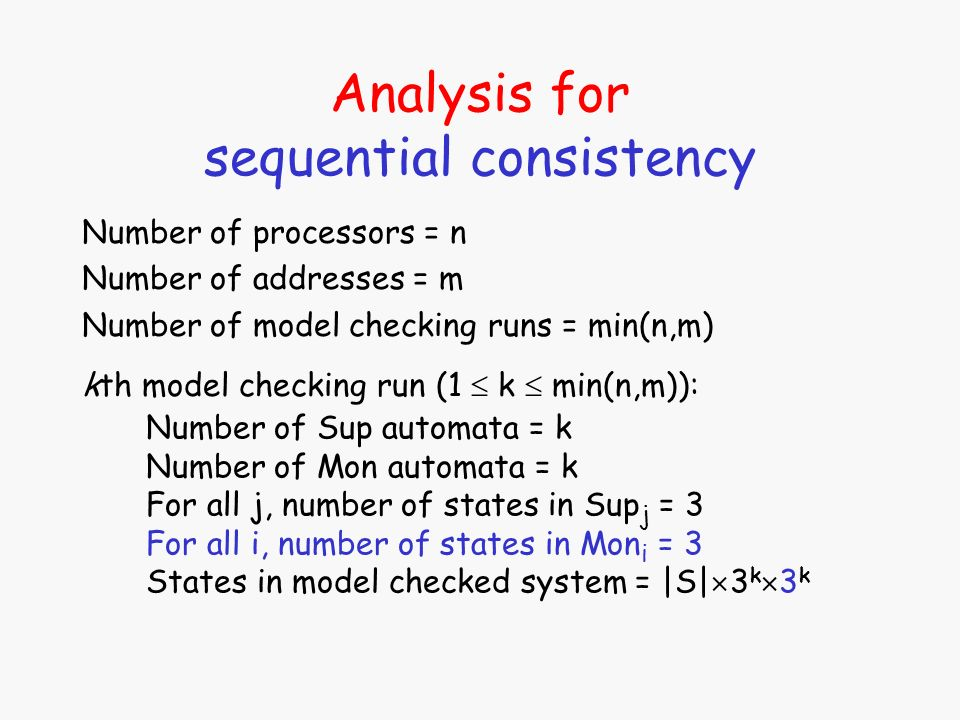 Analysis for sequential consistency Number of processors = n Number of addresses = m Number of model checking runs = min(n,m) Number of Sup automata = k Number of Mon automata = k For all j, number of states in Sup j = 3 For all i, number of states in Mon i = 3 States in model checked system = |S| 3 k 3 k kth model checking run (1 k min(n,m)):