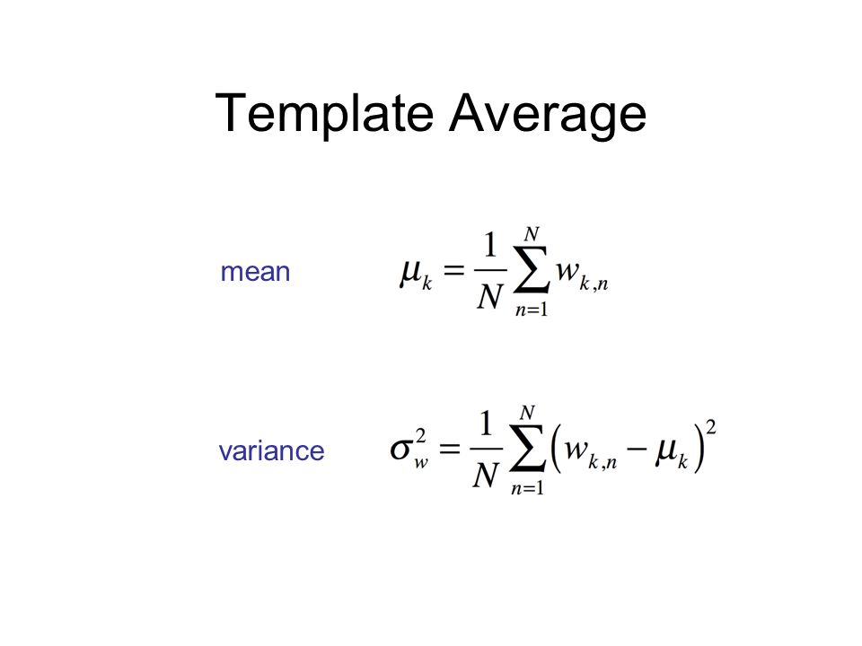 Template Average mean variance