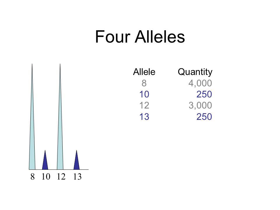 Four Alleles Allele 8 10 12 13 Quantity 4,000 250 3,000 250 1012 813