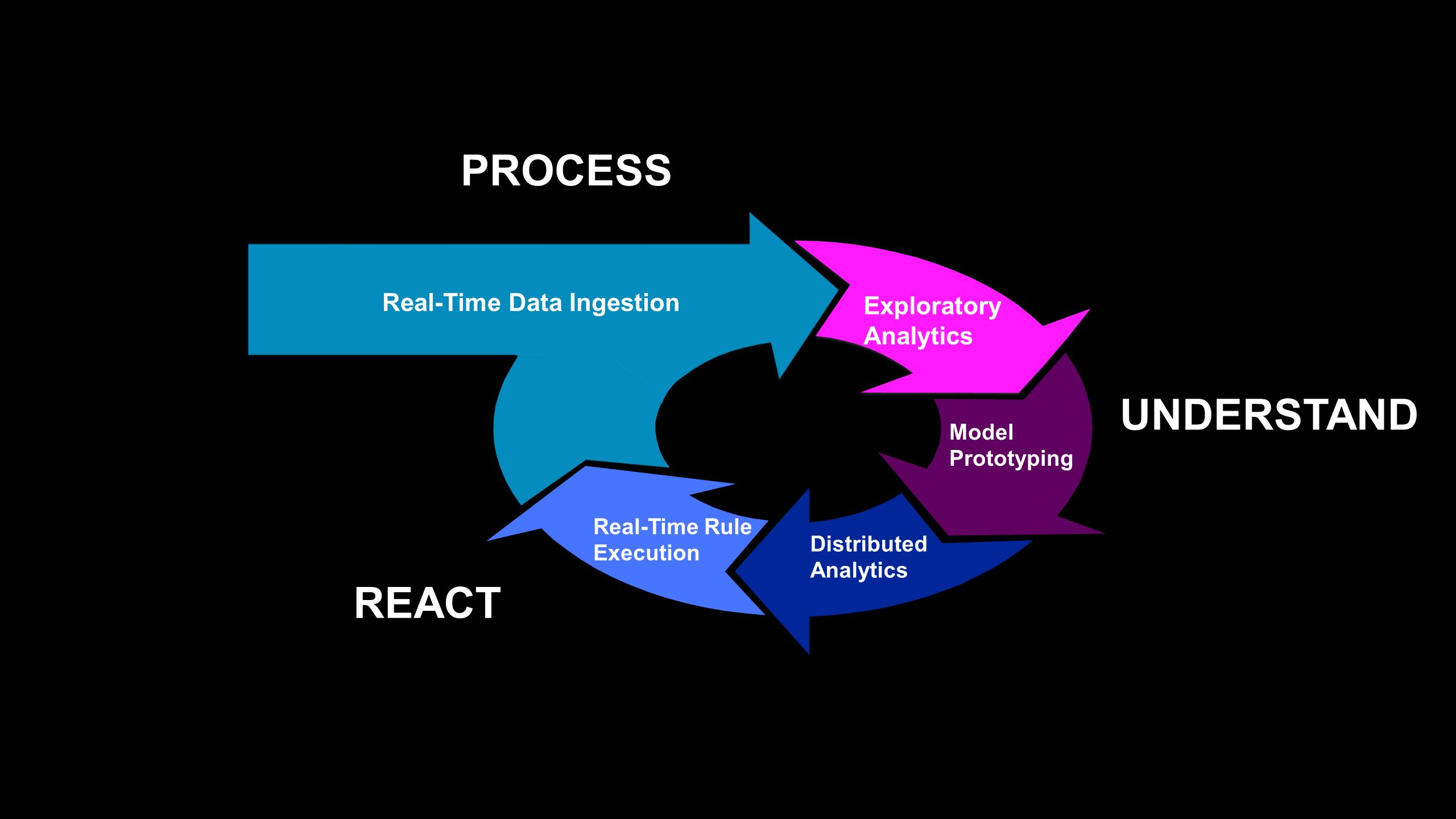 Distributed Analytics Real-Time Data Ingestion Model Prototyping Exploratory Analytics Real-Time Rule Execution PROCESS UNDERSTAND REACT