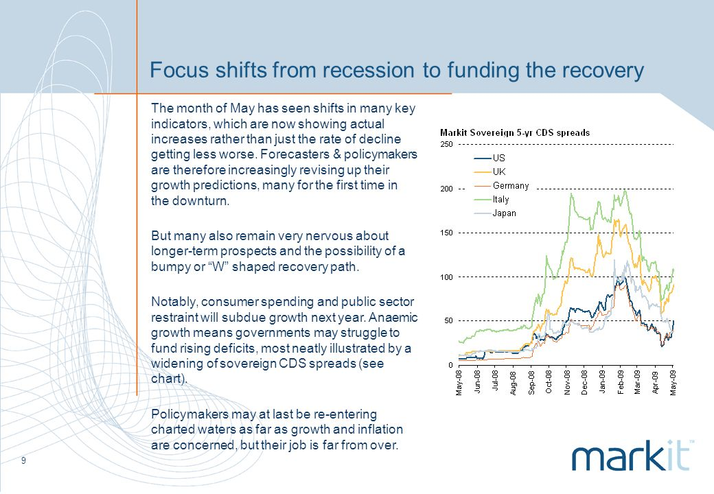 9 Focus shifts from recession to funding the recovery The month of May has seen shifts in many key indicators, which are now showing actual increases rather than just the rate of decline getting less worse.
