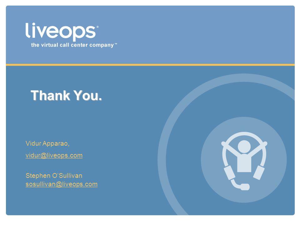 Thank You. Vidur Apparao, vidur@liveops.com Stephen OSullivan sosullivan@liveops.com