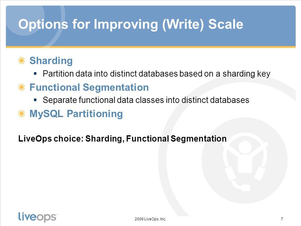 Options for Improving (Write) Scale Sharding Partition data into distinct databases based on a sharding key Functional Segmentation Separate functiona