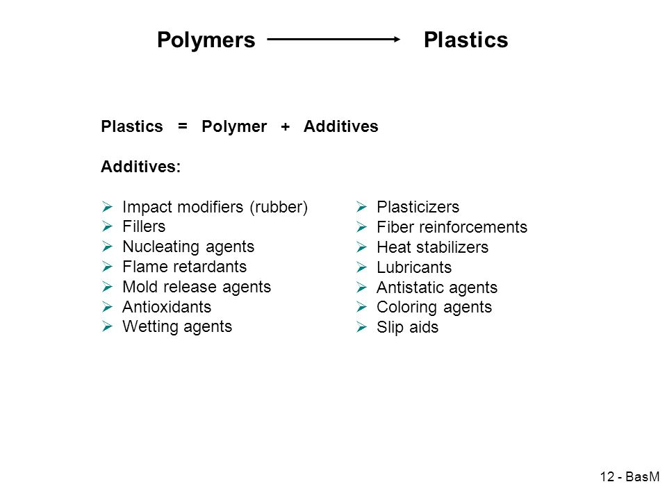 12 - BasM Polymers Plastics Plastics = Polymer + Additives Additives: Impact modifiers (rubber) Fillers Nucleating agents Flame retardants Mold releas