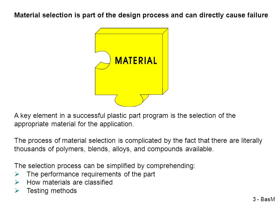 3 - BasM Material selection is part of the design process and can directly cause failure A key element in a successful plastic part program is the sel