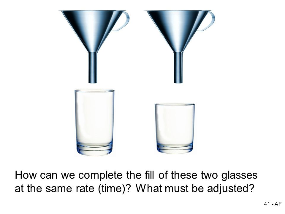 41 - AF How can we complete the fill of these two glasses at the same rate (time)? What must be adjusted?