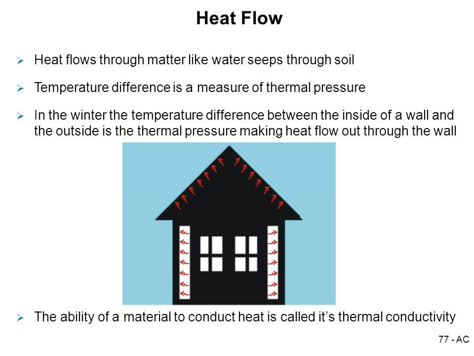 77 - AC Heat Flow Heat flows through matter like water seeps through soil Temperature difference is a measure of thermal pressure In the winter the te