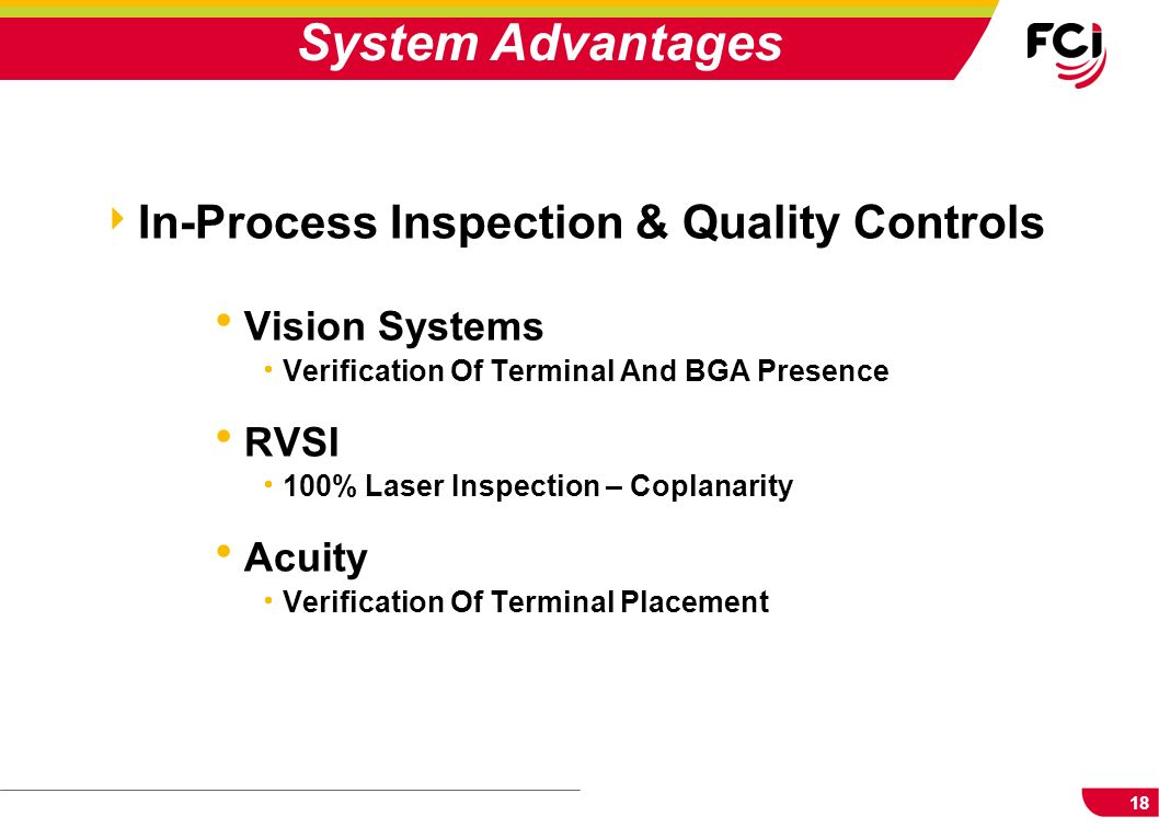 18 In-Process Inspection & Quality Controls Vision Systems Verification Of Terminal And BGA Presence RVSI 100% Laser Inspection – Coplanarity Acuity V
