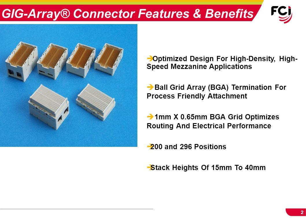 2 è Optimized Design For High-Density, High- Speed Mezzanine Applications è Ball Grid Array (BGA) Termination For Process Friendly Attachment è 1mm X