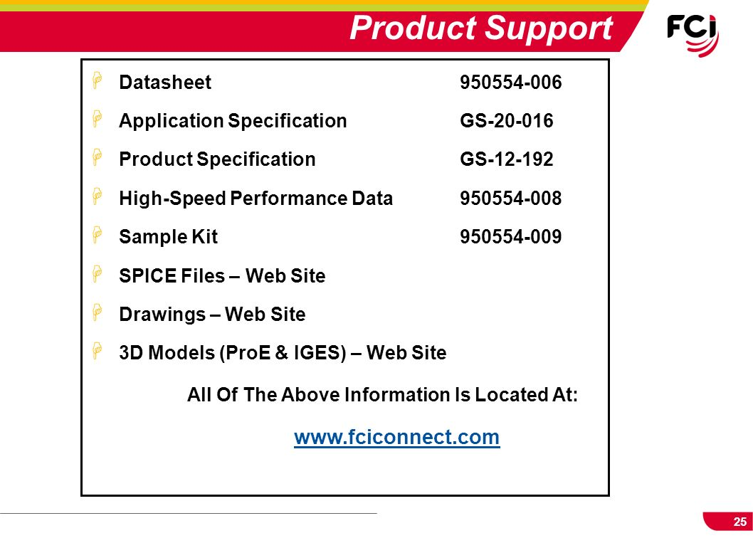 25 H Datasheet950554-006 H Application SpecificationGS-20-016 H Product SpecificationGS-12-192 H High-Speed Performance Data 950554-008 H Sample Kit95