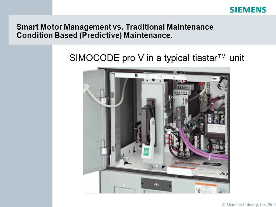 page 14 Item © Siemens Industry, Inc. 2011 Item Smart Motor Management vs. Traditional Maintenance Condition Based (Predictive) Maintenance. SIMOCODE