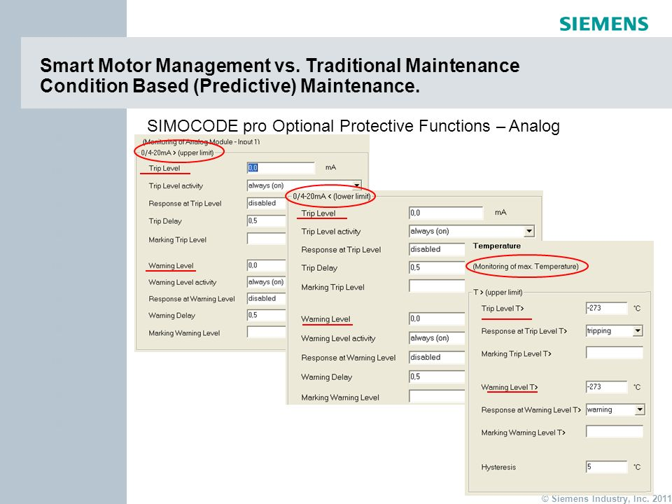 page 18 Item © Siemens Industry, Inc. 2011 Item Smart Motor Management vs. Traditional Maintenance Condition Based (Predictive) Maintenance. SIMOCODE
