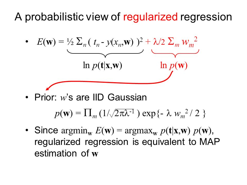 A probabilistic view of regularized regression E(w) = ½ n ( t n - y(x n,w) ) 2 + / 2 m w m 2 Prior: w s are IID Gaussian p(w) = m (1/ 2 -1 ) exp{- w m