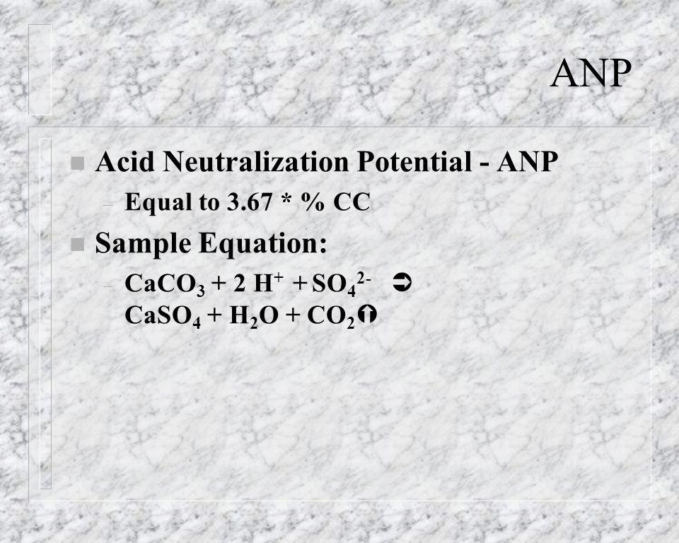 ANP n Acid Neutralization Potential - ANP – Equal to 3.67 * % CC n Sample Equation: – CaCO 3 + 2 H + + SO 4 2- CaSO 4 + H 2 O + CO 2