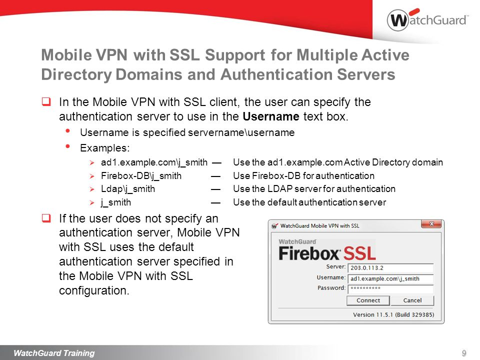 Mobile VPN with SSL Support for Multiple Active Directory Domains and Authentication Servers In the Mobile VPN with SSL client, the user can specify t