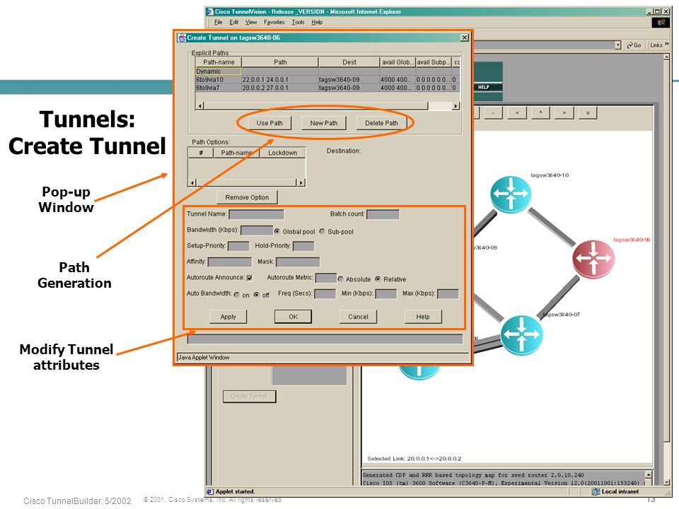 13 © 2001, Cisco Systems, Inc. All rights reserved. Cisco TunnelBuilder, 5/2002 Tunnels: Create Tunnel Pop-up Window Path Generation Modify Tunnel att