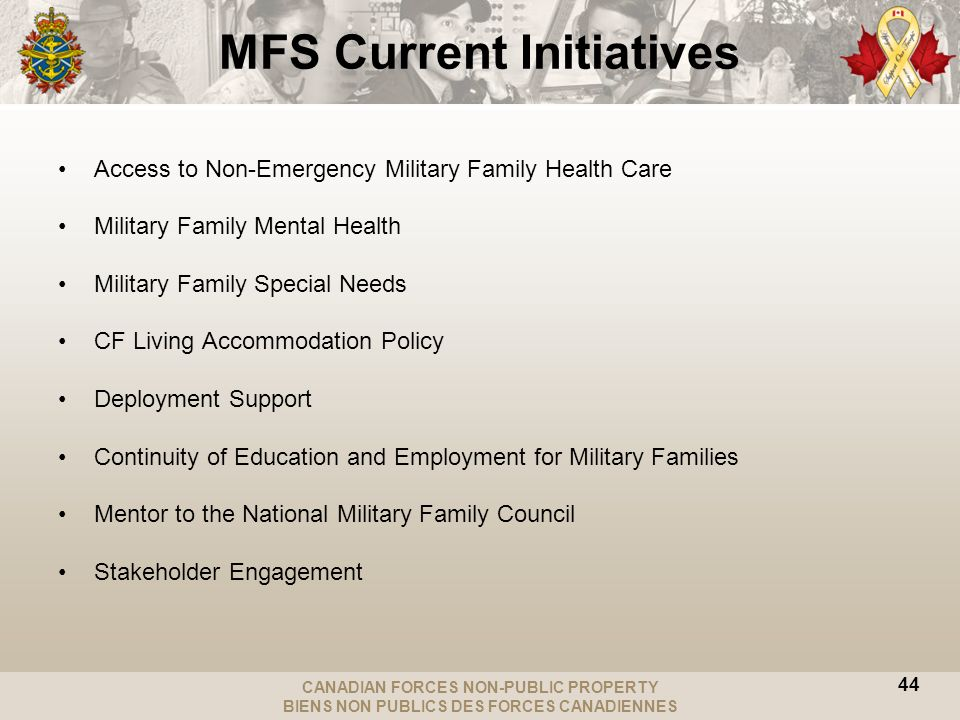 CANADIAN FORCES NON-PUBLIC PROPERTY BIENS NON PUBLICS DES FORCES CANADIENNES 44 MFS Current Initiatives Access to Non-Emergency Military Family Health