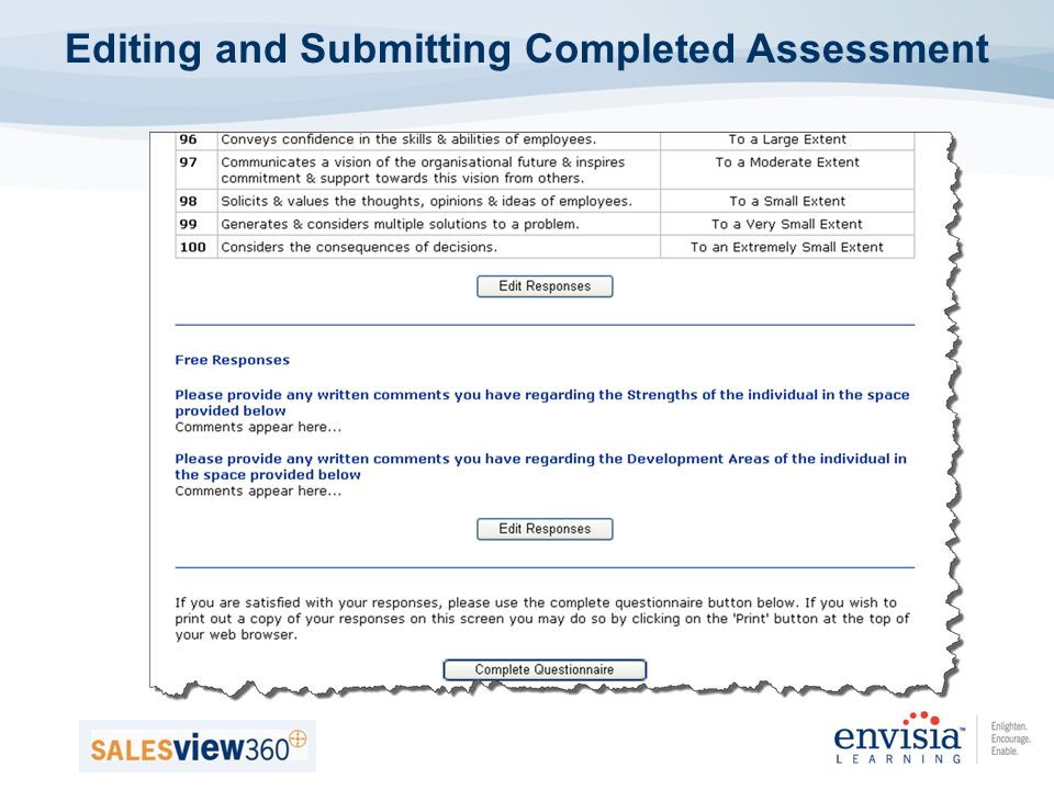 Editing and Submitting Completed Assessment