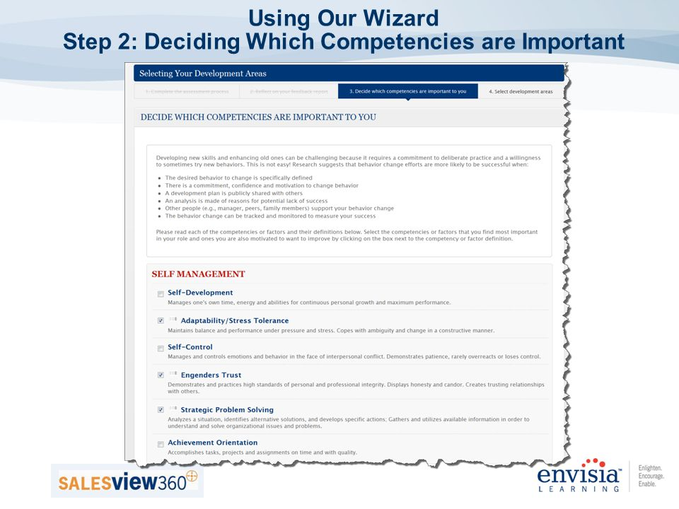 Using Our Wizard Step 2: Deciding Which Competencies are Important